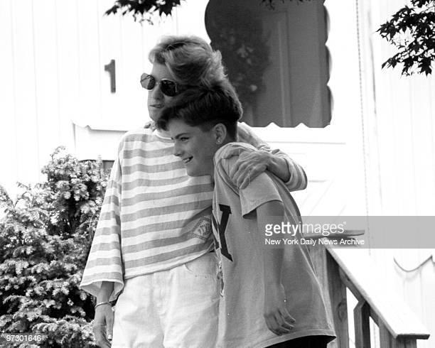 Mary Jo Buttafuoco with her son Paul in front of their home in Massapequa