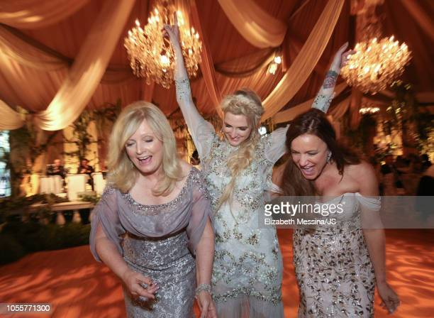 Mary Jo Johnson, Ashlee Simpson and Tina Simpson attend Jessica Simpson and Eric Johnson wedding at San Ysidro Ranch on July 5, 2014 in Montecito,...