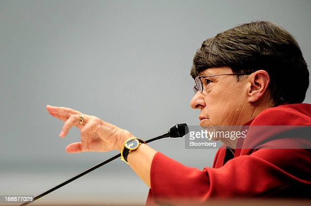Mary Jo White chairman of the US Securities and Exchange Commission testifies during a House Financial Services Committee hearing in Washington DC US...