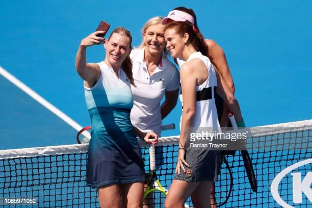 Mary Joe Fernandez of the United States, Barbara Schett of Austria, Martina Navratilova of the United States and Daniela Hantuchova of Slovakia pose...