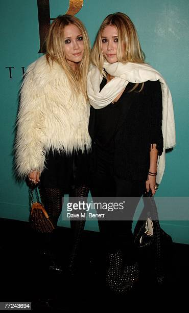 Mary Kate and Ashley Olsen attend the launch dinner of The Row hosted by Mary Kate and Ashley Olsen at Harvey Nichols on October 9 2007 in London...