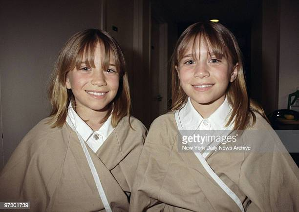 Mary Kate and Ashley Olsen getting their hair styled at the John Barrett Salon at Bergdorf Goodman The Olsen twins are in town for the Audrey Hepburn...