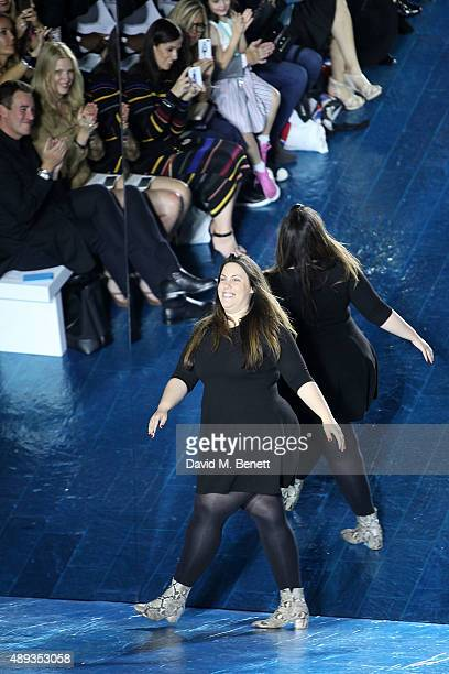 Mary Katrantzou after her Mary Katrantzou fashion show during London Fashion Week SS16 at Central Saint Martins on September 20 2015 in London England