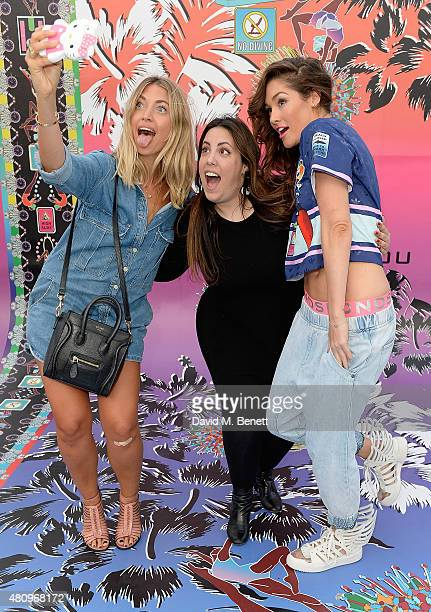 Mary Katrantzou and Erin Gleave attend a rooftop party in Shoreditch London to celebrate the launch of Mary Katrantzou for adidas Originals Season 2...