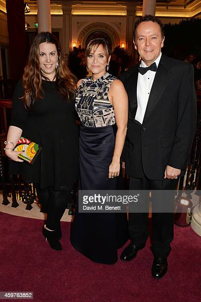 Mary Katrantzou and guests attend a champagne reception at the 60th London Evening Standard Theatre Awards at the London Palladium on November 30...