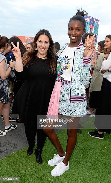 Mary Katrantzou and Leomie Anderson attend a rooftop party in Shoreditch, London, to celebrate the launch of Mary Katrantzou for adidas Originals...