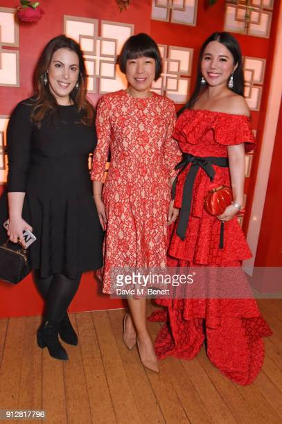Mary Katrantzou Angelica Cheung and Wendy Yu attend Wendy Yu's Chinese New Year Celebration at Kensington Palace on January 31 2018 in London United...