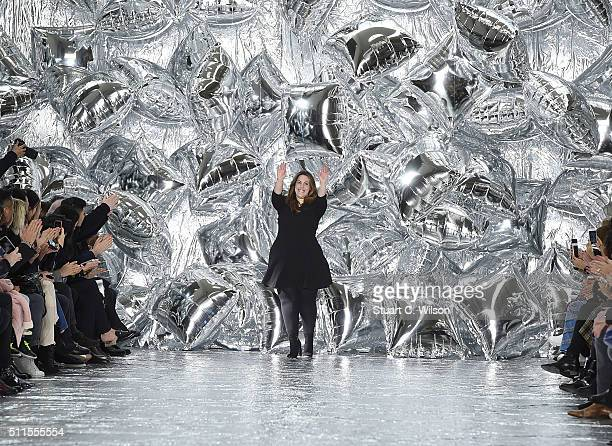 Mary Katrantzou appears on the runway after her show during London Fashion Week Autumn/Winter 2016/17 at Central Saint Martins on February 21 2016 in...