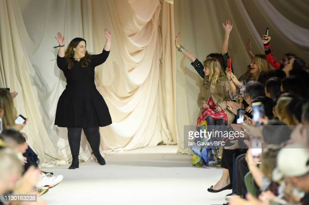 Mary Katrantzou on the runway after her show during London Fashion Week February 2019 at the Coutts Garden Court on February 16 2019 in London England