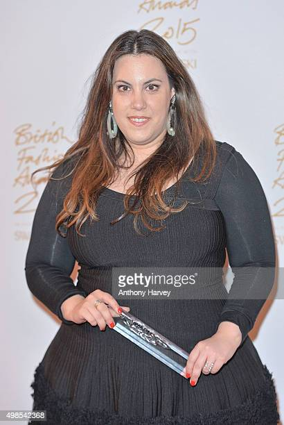 Mary Katrantzou poses in the Winners Room at the British Fashion Awards 2015 at London Coliseum on November 23 2015 in London England