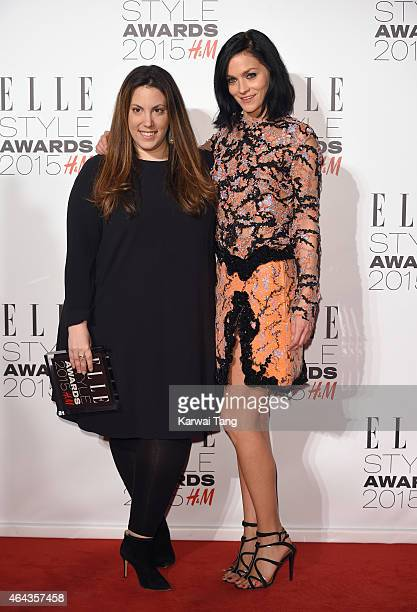 Mary Katrantzou with her Red Carpet Designer award and award presenter Leigh Lezark during the Elle Style Awards 2015 at Sky Garden @ The Walkie...
