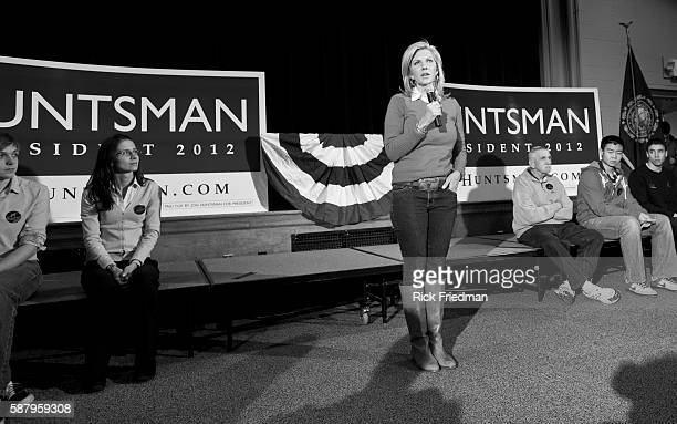 Mary Kaye Huntsman wife of Republican presidential candidate Jon Huntsman speaking at a town hall meeting at Pelham NH Town Hall on December 28 2011