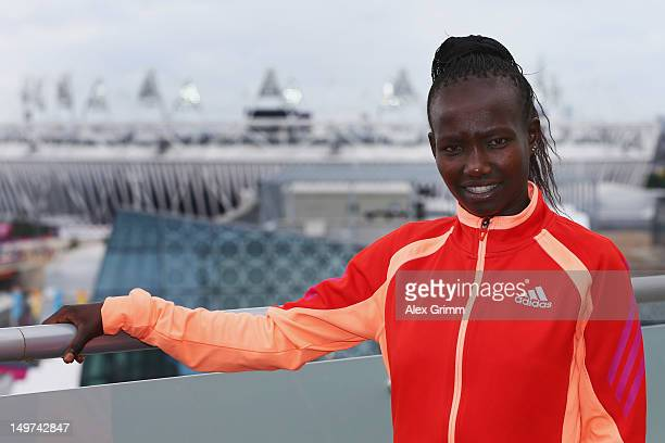 Mary Keitany of Kenya at the adidas Olympic Media Lounge at Westfield Stratford City on August 3 2012 in London England