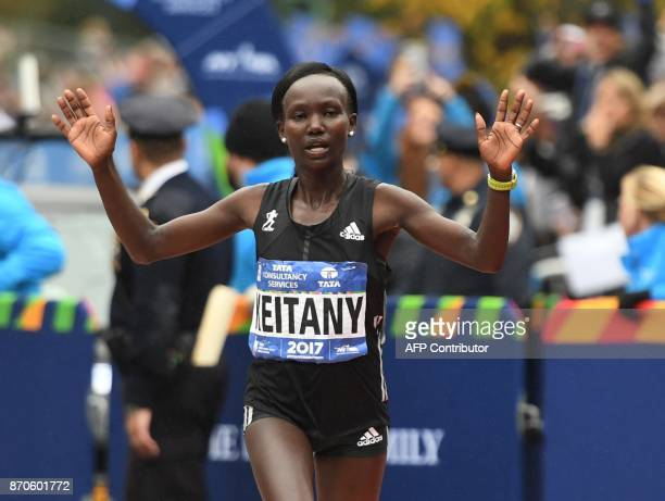 Mary Keitany of Kenya celebrates after taking second place in the Women's Division during the 2017 TCS New York City Marathon in New York on November...