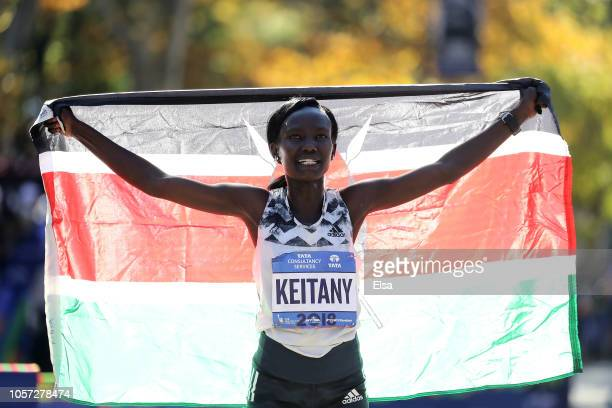 Mary Keitany of Kenya celebrates her win at the finish line after she won the Women's Division of the 2018 TCS New York City Marathon on November 4...