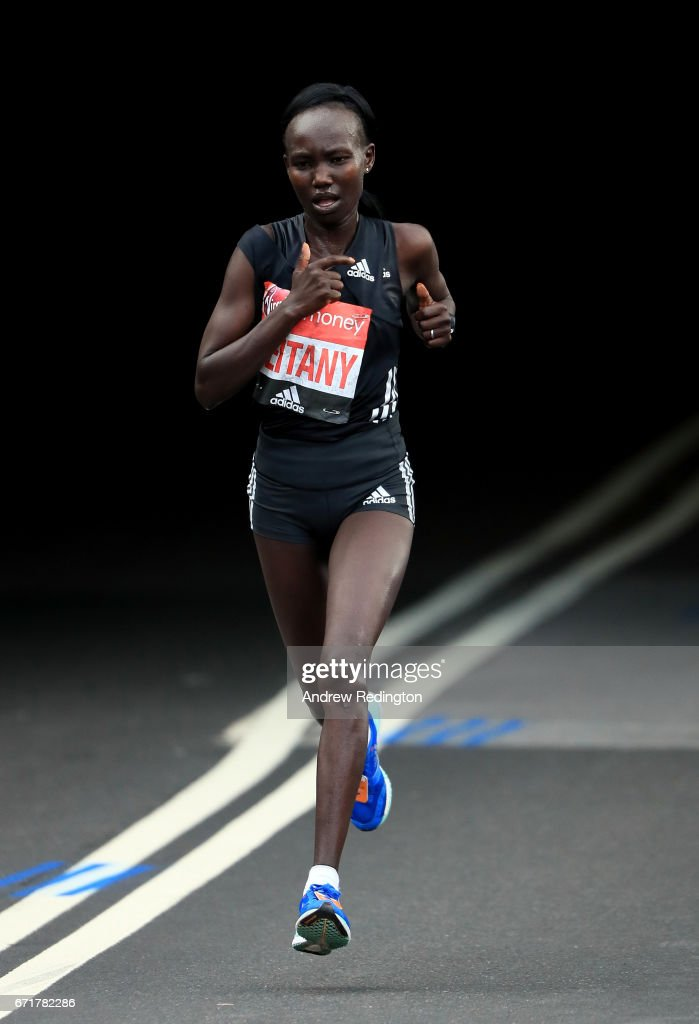 Mary Keitany of Kenya competes during the Virgin Money London Marathon on April 23, 2017 in London, England.