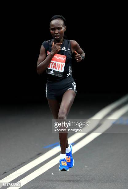 Mary Keitany of Kenya competes during the Virgin Money London Marathon on April 23 2017 in London England