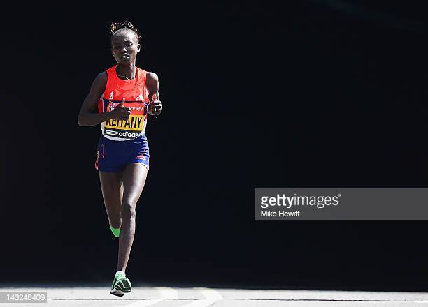 Mary Keitany of Kenya in action on her way to victory during the Virgin London Marathon 2012 on April 22 2012 in London England