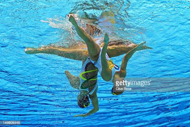 Mary Killman and Mariya Koroleva of the United States compete in the Women's Duets Synchronised Swimming Free Routine Preliminary on Day 10 of the...