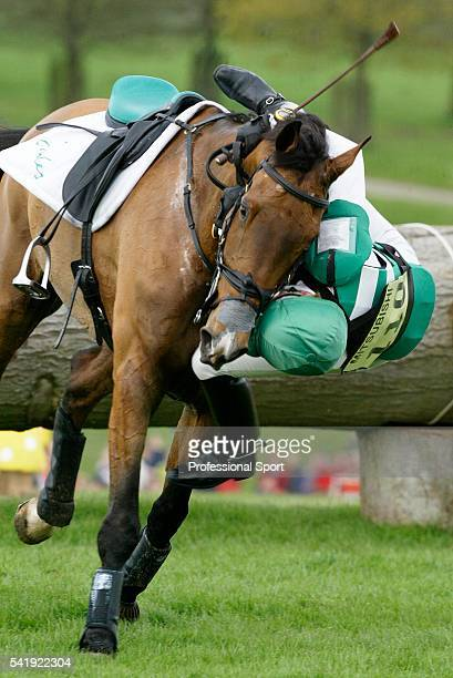 Mary King of Great Britain falling from Imperial Cavalier during the Cross Country phase of Badminton Horse Trials held at Badminton Park in...