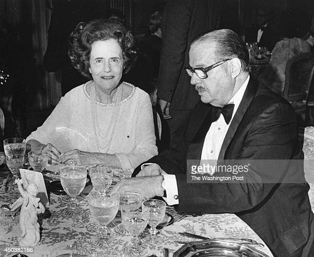 FILE Mary Lasker and Sen Hugh Scott during dinner at the French Embassy in Washington DC in May 1975