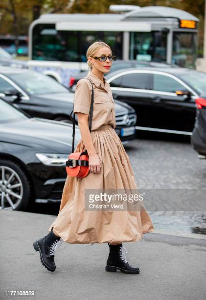 Mary Lawless Lee is seen wearing beige skit, button shirt outside Rochas during Paris Fashion Week Womenswear Spring Summer 2020 on September 25,...