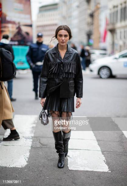 Mary Leest attends the Ermanno Scervino show at Milan Fashion Week Autumn/Winter 2019/20 on February 23 2019 in Milan Italy