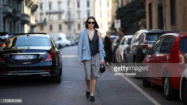 Mary Leest is seen before Salvatore Ferragamo during Milan Fashion Week Fall/Winter 2020-2021 on February 22, 2020 in Milan, Italy.