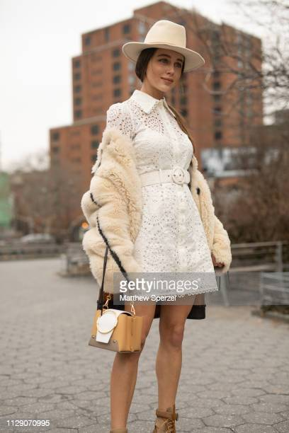 Mary Leest is seen on the street during New York Fashion Week AW19 wearing Zimmermann on February 11 2019 in New York City