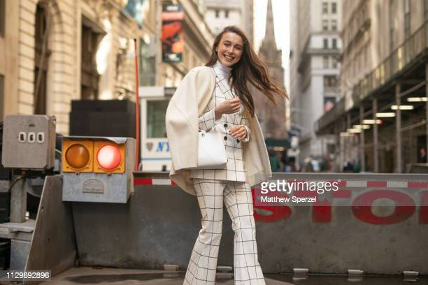 Mary Leest is seen on the street during New York Fashion Week AW19 wearing Michael Kors on February 13 2019 in New York City