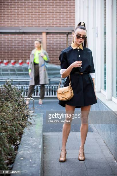 Mary Leest is seen outside Fendi on Day 2 Milan Fashion Week Autumn/Winter 2019/20 on February 21 2019 in Milan Italy