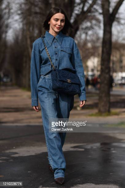 Mary Leest is seen wearing a blue Chanel outfit with blue Chanel bag outside the Chanel show during Paris Fashion Week: AW20 on March 03, 2020 in...