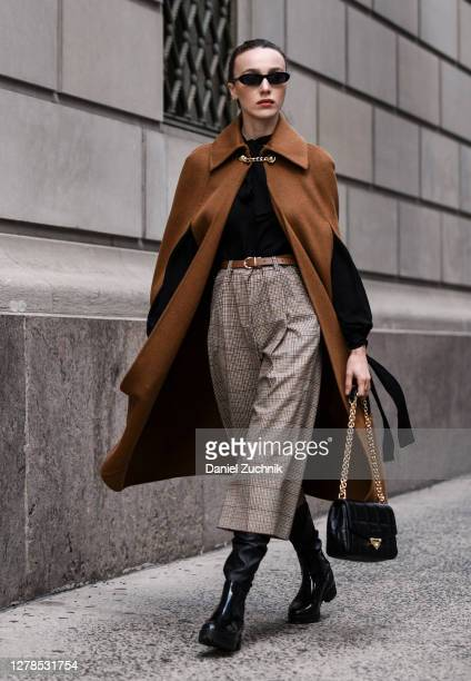 Mary Leest is seen wearing a Michael Kors outfit with black bag on the streets of Manhattan on October 04 2020 in New York City