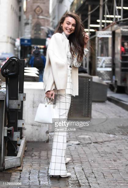 Mary Leest is seen wearing a Michael Kors suit outside the Michael Kors show during New York Fashion Week Fall/Winter 2019 on February 13 2019 in New...