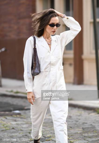 Mary Leest is seen wearing an Alex Mill jumpsuit Tiffany necklace and Staud bag during New York Fashion Week S/S21 on September 18 2020 in New York...