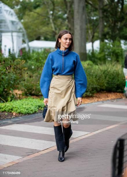 Mary Leest is seen wearing beige skirt, blue zipped jacket outside Carolina Herrera during New York Fashion Week September 2019 on September 09, 2019...