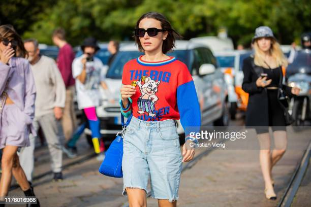 Mary Leest is seen wearing denim shorts knit with print outside the Tod's show during Milan Fashion Week Spring/Summer 2020 on September 20 2019 in...