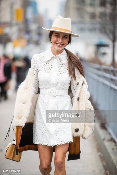 Mary Leest is seen wearing white dress hat outside Zimmermann during New York Fashion Week Autumn Winter 2019 on February 11 2019 in New York City