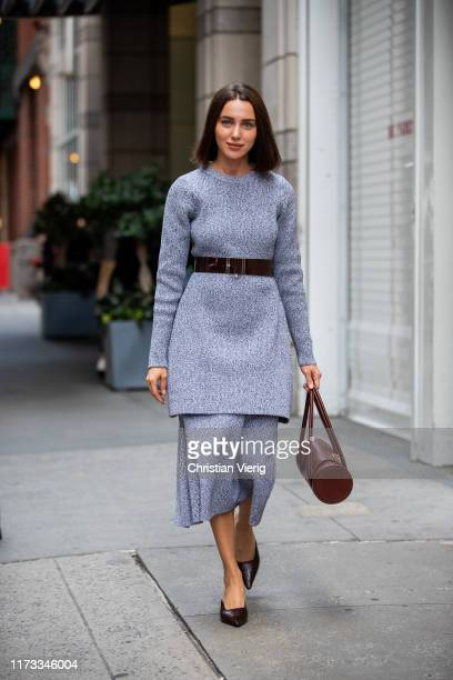 Mary Leest is seen weraing grey belted knit skirt outside Tibi during New York Fashion Week September 2019 on September 08 2019 in New York City