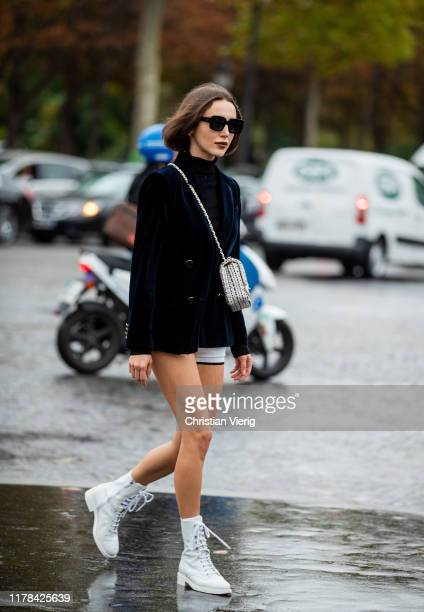 Mary Leest seen wearing navy vevelt blazer outside Chanel during Paris Fashion Week Womenswear Spring Summer 2020 on October 01, 2019 in Paris,...