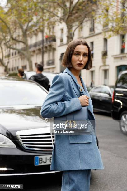 Mary Leest wearing Ralph and Russo blue suit and Dior bag Valentino dress outside Valentino during Paris Fashion Week Womenswear Spring Summer 2020...