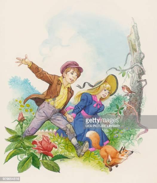 Mary Lennox and Dickon from The Secret Garden children's novel by Frances Hodgson Burnett drawing