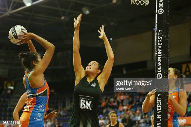 Mary Livesey of the Magpies defends during the Australian Netball League grand final between the Tasmanian Magpies and the Canberra Giants at AIS...