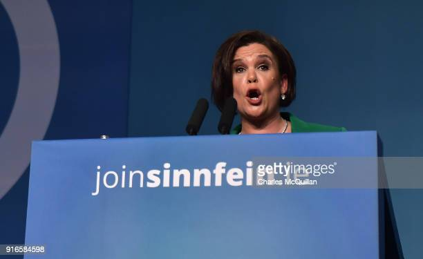 Mary Lou McDonald addresses delgates and the media after being elected as the new President of Sinn Fein at the party's Ard Fheis at the RDS on...