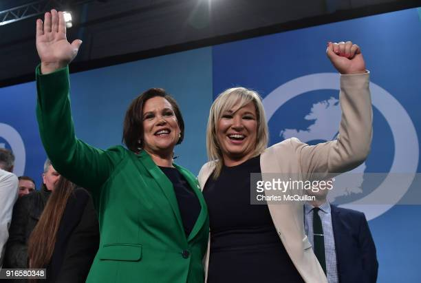 Mary Lou McDonald new appointed President of Sinn Fein and Michelle O'Neill newly elected vice President stand on stage together at the party's Ard...