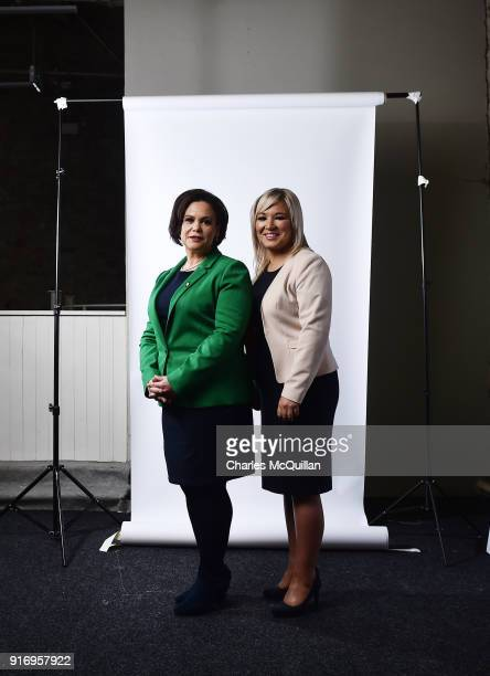 Mary Lou McDonald , new appointed President of Sinn Fein and Michelle O'Neill , newly elected vice President stand on stage together at the party's...
