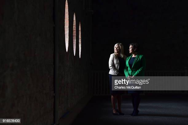 Mary Lou McDonald poses for an official photograph as the new President of Sinn Fein alongside new vice president Michelle O'Neill at the party's Ard...