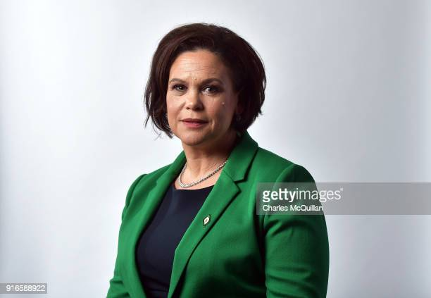 Mary Lou McDonald poses for an official photograph as the new President of Sinn Fein at the party's Ard Fheis at the RDS on February 10, 2018 in...