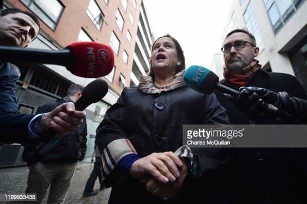 Mary Lou McDonald , President of Sinn Fein and Eoin O'Broin of Sinn Fein greet supporters in Dublin City Centre on February 10, 2020 in Dublin,...