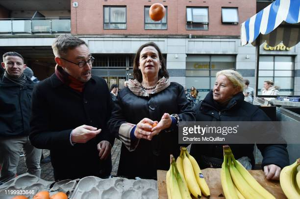 Mary Lou McDonald , President of Sinn Fein and Eoin O'Broin of Sinn Fein greet supporters in Dublin City Centre on February 10, 2020 in Dublin,...